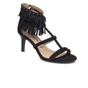 Tamaris black suede fringe tassel stiletto heels